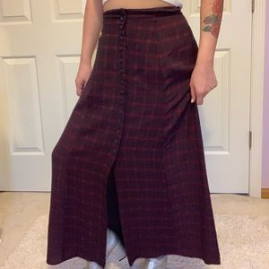 Vintage red and black plaid maxi skirt